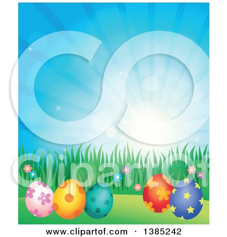 Clipart of a Background of Patterned Easter Eggs, Grass and Flowers Against a Blue Sky with Sunshine - Royalty Free Vector Illustration by visekart