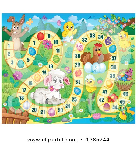 Clipart of a Lamb, Chicks, Chicken, Frog, and Bunny Rabbit on an Easter Game - Royalty Free Vector Illustration by visekart