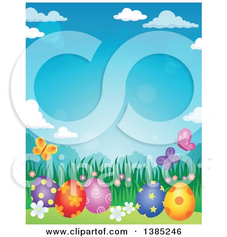Clipart of a Background of Patterned Easter Eggs, Butterflies, Grass and Flowers Against a Blue Sky - Royalty Free Vector Illustration by visekart