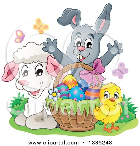 Clipart of a Cute Lamb, Chick and Gray Bunny Rabbit Welcoming Behind an Easter Basket with Eggs - Royalty Free Vector Illustration by visekart