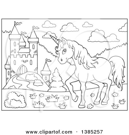 Clipart of a Black and White Lineart Unicorn near a Castle - Royalty Free Vector Illustration by visekart