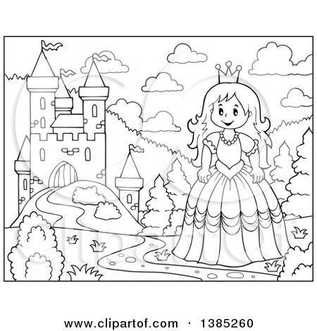 Clipart of a Black and White Lineart Princess by a Castle - Royalty Free Vector Illustration by visekart