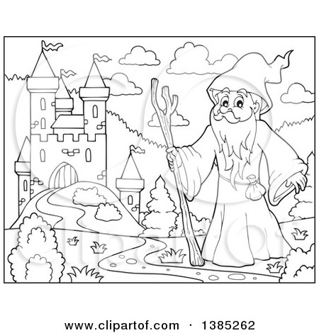 Clipart of a Black and White Lineart Druid Wizard by a Castle - Royalty Free Vector Illustration by visekart