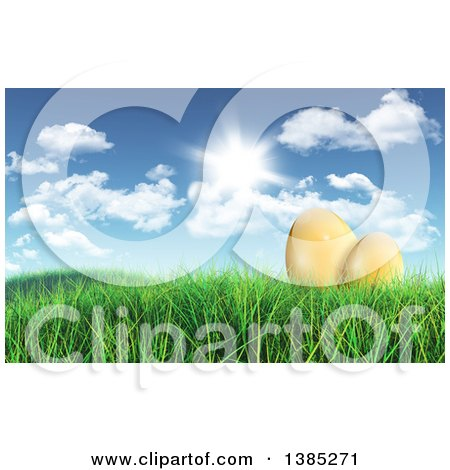 Clipart of 3d Gold Easter Eggs in Grass Under a Sunny Spring Sky - Royalty Free Illustration by KJ Pargeter