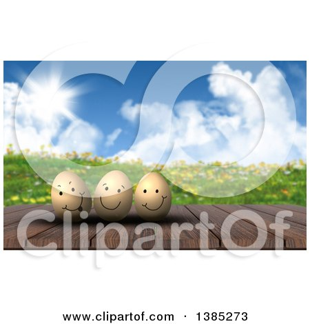 Clipart of a 3d Wood Table with Happy Easter Eggs Against a Hilly Spring Landscape - Royalty Free Illustration by KJ Pargeter