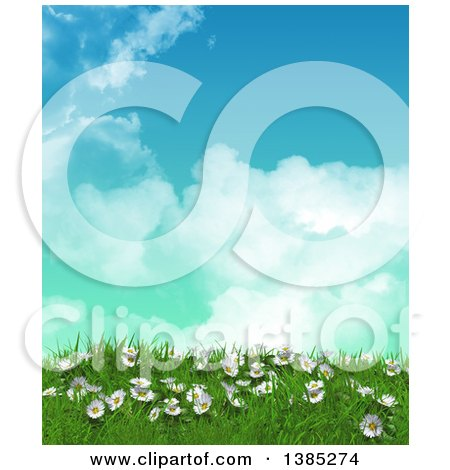 Clipart of a 3d Grassy Hill with Daisies and Grass Against Blue Sky with Clouds - Royalty Free Illustration by KJ Pargeter
