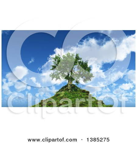 Clipart of a 3d Tree on a Hill Top Against a Blue Sky with Clouds - Royalty Free Illustration by KJ Pargeter