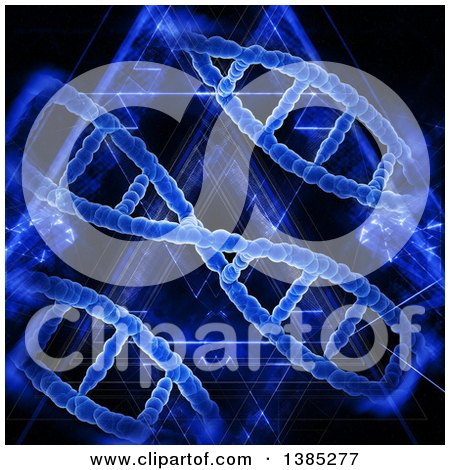 Clipart of a 3d Background with Blue Dna Strands and Lights - Royalty Free Illustration by KJ Pargeter