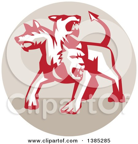 Clipart of a Retro Three Headed Cerberus Devil Dog Hellhound Monster in a Tan Circle - Royalty Free Vector Illustration by patrimonio