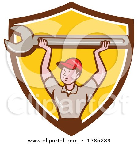 Retro Cartoon White Male Mechanic Holding up a Giant Spanner Wrench in a Brown White and Yellow Shield Posters, Art Prints