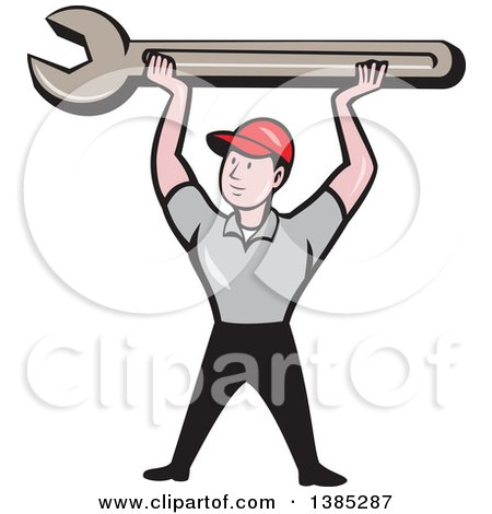 Retro Cartoon White Male Mechanic Holding up a Giant Spanner Wrench Posters, Art Prints