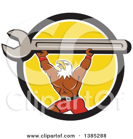 Clipart of a Cartoon Bald Eagle Mechanic Man Lifting a Giant Spanner Wrench in a Black White and Yellow Circle - Royalty Free Vector Illustration by patrimonio