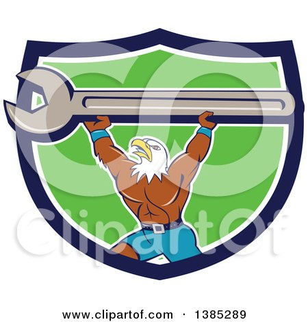 Clipart of a Cartoon Bald Eagle Mechanic Man Lifting a Giant Spanner Wrench in a Blue White and Green Shield - Royalty Free Vector Illustration by patrimonio