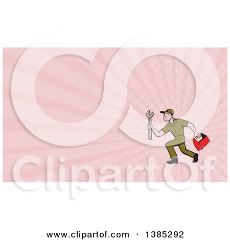 Retro Cartoon White Male Mechanic Holding a Tool Box and Wrench and Running and Pink Rays Background or Business Card Design Posters, Art Prints