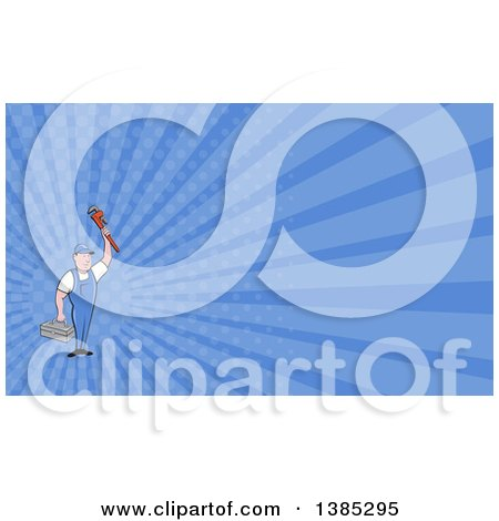 Retro Cartoon White Male Plumber Holding up a Monkey Wrench and Tool Box and Blue Rays Background or Business Card Design Posters, Art Prints