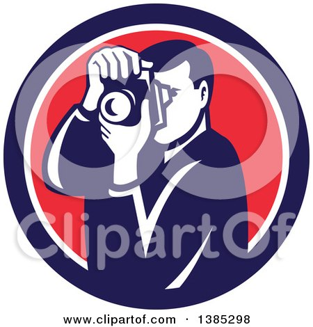Clipart of a Retro Male Photographer Taking Pictures in a Blue White and Red Circle - Royalty Free Vector Illustration by patrimonio