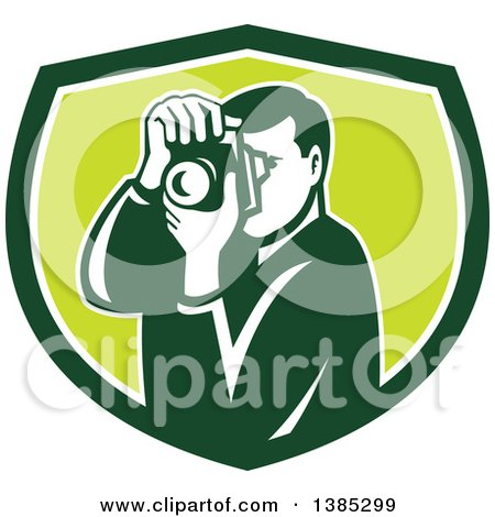 Clipart of a Retro Male Photographer Taking Pictures in a Green and White Shield - Royalty Free Vector Illustration by patrimonio