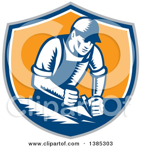 Clipart of a Retro Woodcut Carpenter Wearing a Hat and Overalls, Working with a Smooth Plane on a Wood Surface in a Gray, Blue White and Orange Shield - Royalty Free Vector Illustration by patrimonio