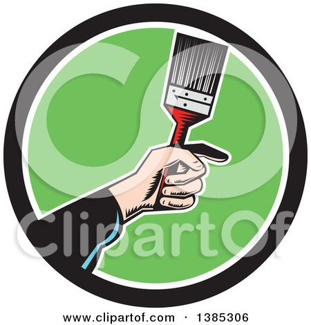 Retro Woodcut Caucasian Painters Hand Holding a Paintbrush in a Black White and Green Circle Posters, Art Prints