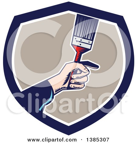 Retro Woodcut Caucasian Painters Hand Holding a Paintbrush in a Blue White and Taupe Shield Posters, Art Prints