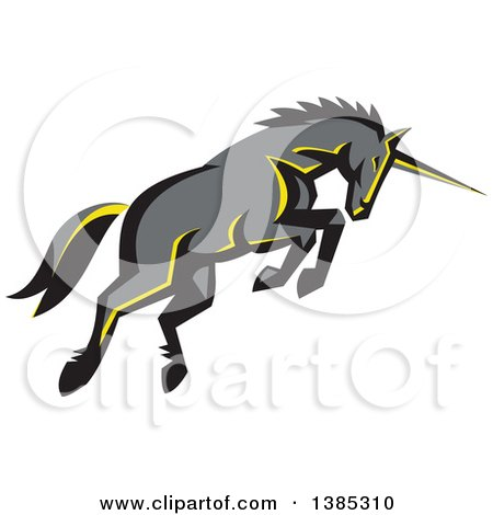 Clipart of a Retro Charging Unicorn - Royalty Free Vector Illustration by patrimonio