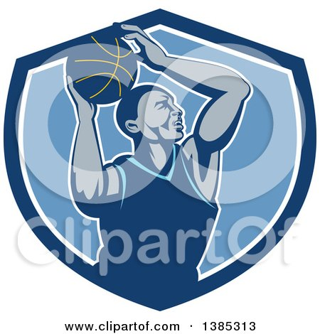 Clipart of a Retro Black Male Basketball Player Doing a Layup in a Blue and White Shield - Royalty Free Vector Illustration by patrimonio