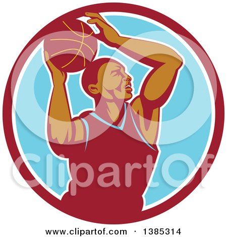 Clipart of a Retro Black Male Basketball Player Doing a Layup in a Red White and Blue Circle - Royalty Free Vector Illustration by patrimonio