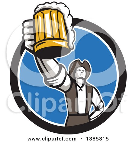 Clipart of a Retro Male American Patriot Toasting with a Beer Mug in a Black White and Blue Circle - Royalty Free Vector Illustration by patrimonio