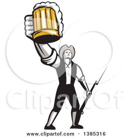 Clipart of a Retro Male American Patriot Toasting with a Beer Mug and Holding a Bayonet - Royalty Free Vector Illustration by patrimonio