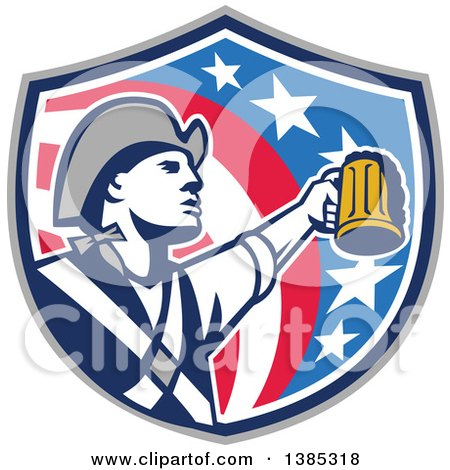 Clipart of a Retro American Patriot Soldier Toasting with a Beer in an American Shield - Royalty Free Vector Illustration by patrimonio