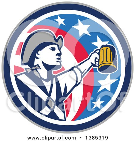 Clipart of a Retro American Patriot Soldier Toasting with a Beer in an American Circle - Royalty Free Vector Illustration by patrimonio