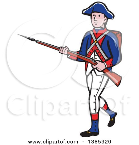 Clipart of a Retro Cartoon American Revolutionary Soldier Marching with a Rifle - Royalty Free Vector Illustration by patrimonio