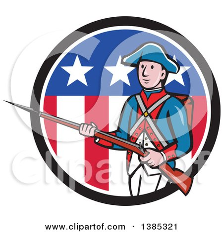 Clipart of a Retro Cartoon American Revolutionary Soldier Marching with a Rifle in a Patriotic Circle - Royalty Free Vector Illustration by patrimonio