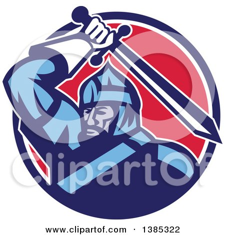 Clipart of a Retro Mongol Horde Barbarian Warrior Wielding a Sword in a Blue White and Red Circle - Royalty Free Vector Illustration by patrimonio