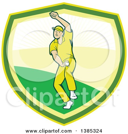 Clipart of a Retro Cartoon White Male Cricket Player Fast Bowling in a Shield - Royalty Free Vector Illustration by patrimonio