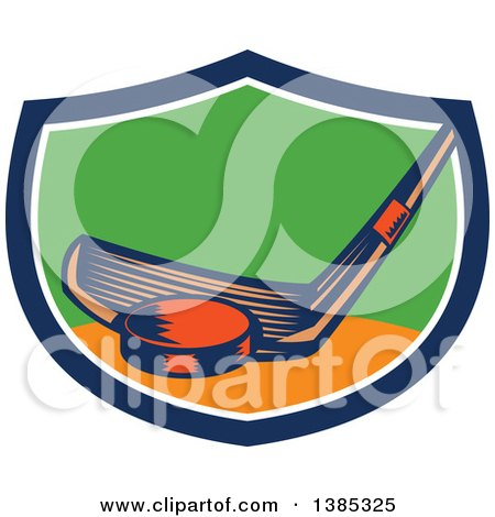 Clipart of a Retro Woodcut Hockey Stick and Puck in a Blue White Orange and Green Shield - Royalty Free Vector Illustration by patrimonio