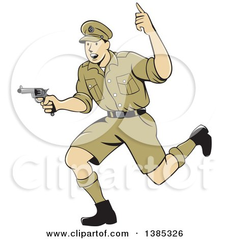 Clipart of a Retro Cartoon WWI British Soldier Running with a Pistol - Royalty Free Vector Illustration by patrimonio