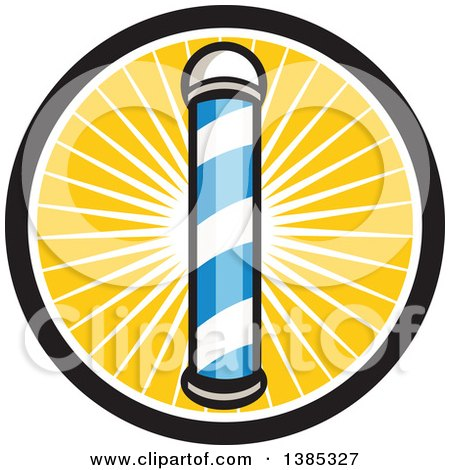 Clipart of a Retro Blue and White Barber Pole in a Sun Burst Circle - Royalty Free Vector Illustration by patrimonio