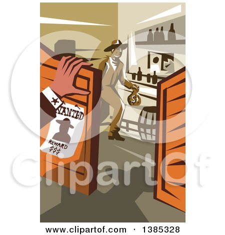 Clipart of a Retro Wanted Outlaw Cowboy Robber in a Store, Holding a Money Bag and Someone Watching - Royalty Free Vector Illustration by patrimonio