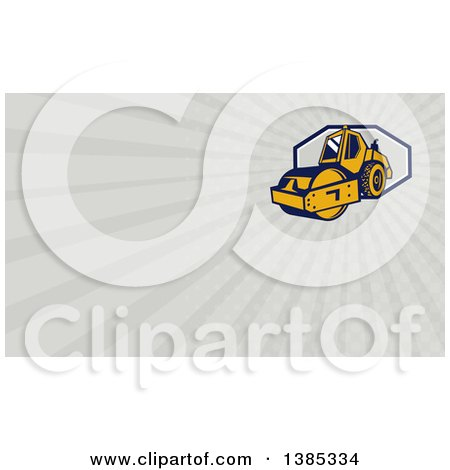 Clipart of a Retro Road Roller and Rays Background or Business Card Design - Royalty Free Illustration by patrimonio