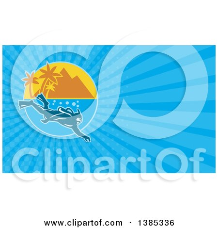 Clipart of a Scuba Diver near a Mountainous Tropical Island and Blue Rays Background or Business Card Design - Royalty Free Illustration by patrimonio
