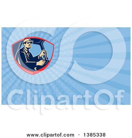 Clipart of a Retro Truck Driver and Blue Rays Background or Business Card Design - Royalty Free Illustration by patrimonio