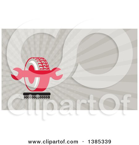 Clipart of a Tire and Spanner Wrench with Tread Marks and Taupe Rays Background or Business Card Design - Royalty Free Illustration by patrimonio