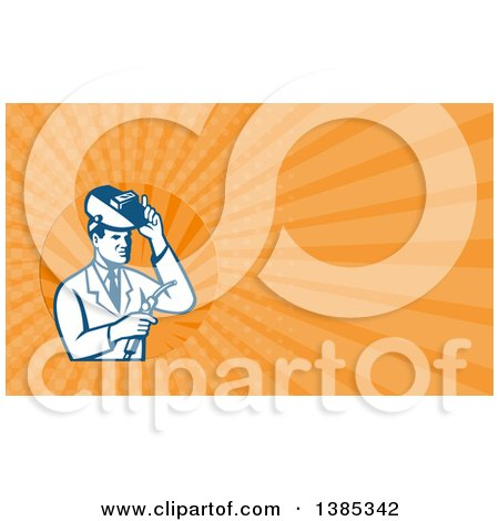 Clipart of a Retro Male Scientist Using a Welder and Orange Rays Background or Business Card Design - Royalty Free Illustration by patrimonio