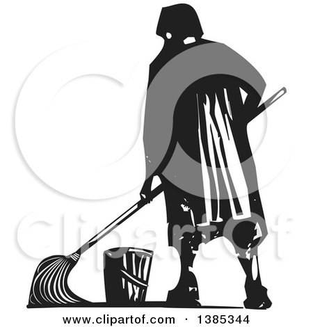 Clipart of a Rear View of a Black and White Woodcut Janitor Mopping - Royalty Free Vector Illustration by xunantunich