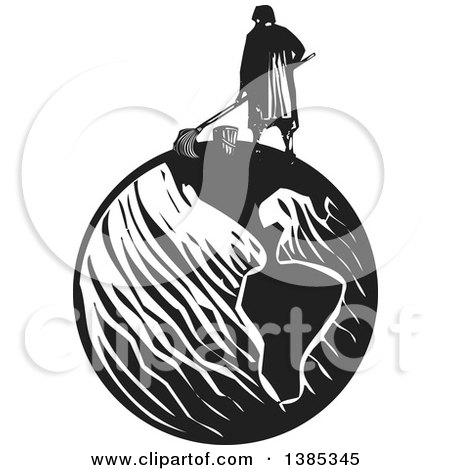 Clipart of a Rear View of a Black and White Woodcut Janitor Mopping on Top of Planet Earth - Royalty Free Vector Illustration by xunantunich