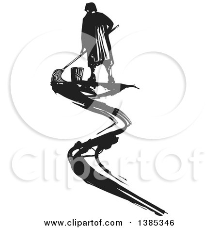 Clipart of a Rear View of a Black and White Woodcut Janitor Mopping up a Smear - Royalty Free Vector Illustration by xunantunich