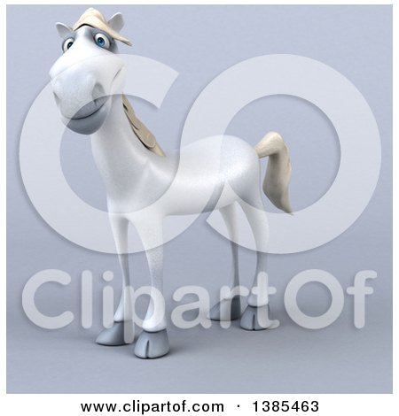 Clipart of a 3d White Horse, on a Gray Background - Royalty Free Illustration by Julos