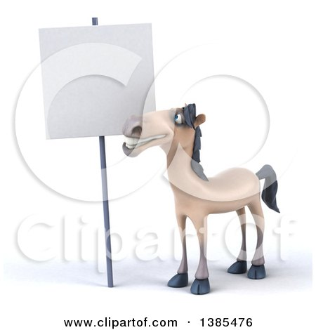 Clipart of a 3d Beige Horse, on a White Background - Royalty Free Illustration by Julos