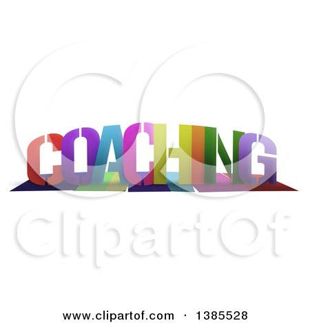 Clipart of a Colorful Word, COACHING, with Shadows, on White - Royalty Free Illustration by MacX
